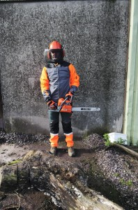 Oleo Mac PPE including helmet, ear-muffs, face-shield, jacket, gloves and trousers. Missing are chainsaw Wellingtons.