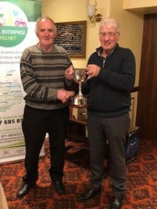 Cattle committee Chairman Jeremy Mc Gonigle presents 'The Frank O Kelly Cup' to Jim Brennan