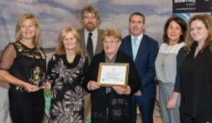 Molly receiving the Ocean Hero Award recently on behalf of Creevy Co-Op, for one of Ireland's biggest beach clean ups.