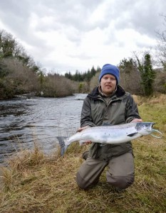 Bangor angler William Rainey with the first salmon caught on the Drowse in 2017.