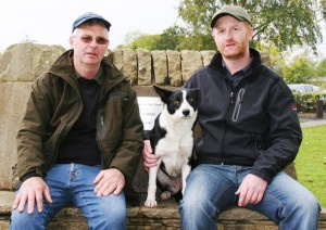 Michael Gallagher, right, with his 9,500gns top price Skipton dog Flo, and buyer Jock Sutherland.