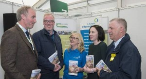 On the Teagasc stand at the Ploughing Championships for the launch of the 'Supports for Farmers' booklet, from left, Barry Caslin, Teagasc; Damien O'Reilly, RTE; Cathy Gerrard and Grainne Griffin, Citizens Information; and Teagasc Director, Professor Gerry Boyle. Picture: O'Gorman Photography