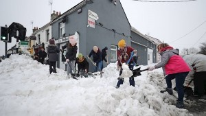 Cleaning up in Sallins, Co. Kildare after the Beast From the East, March, 2018