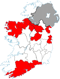 Map showing counties with highest rates of bowel cancer in Ireland