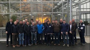 Michael Hennessy, Teagasc project leader; Jimmy Staples, ECT project advisor; and Dr Sarah Cook, of ADAS in the UK, project consultant; with members of Enable Conservation Tillage (ECT), launching the project at the Teagasc crops research centre in Oak Park, Carlow.