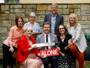 Staff from the ALONE office in Donegal including Emma Lu Kerr, Sarah Breslin, Amma Kennedy, Tracey Reddin and Francis Browne, pictured with special guest Daniel O Donnell and Alone CEO Sean Moynihan Pic. Brian McDaid