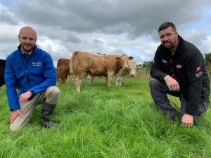 Host farmer Barry Carty and CAFRE programme adviser Darryl Boyd discussing plans for the forthcoming event.