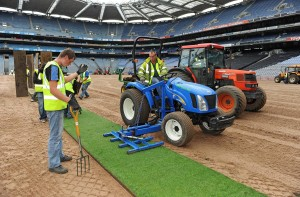 Workers lay sods of imported grass at Croke Park in 2009 but fresh grass from north Dublin was used on the pitch last month. Pic. Ray McManus-Sportsfile.