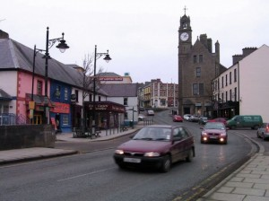 Ballyshannon clock tower before it was damaged in a storm