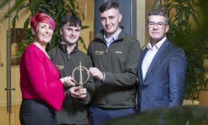 Limerick brothers Nick and Jack Cotter with: Shirley McDonald, associate director of membership at Engineers Ireland; and Gary O'Callaghan, CEO of Engineers Ireland. Pic. Peter Houlihan