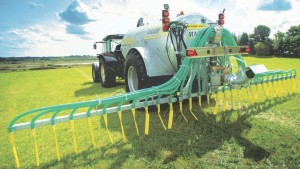 All natural: six to eight units of nitrogen can be gained from 1000 gallons of good quality cattle slurry along with five units of phosphorus and 25 units of potassium using low emission slurry spreading (LESS) methods, Fields with a low grass cover should be targeted with 2,500 gallons per acre.