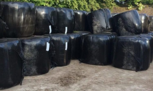 Stacking of round bales on their ends is not recommended as bales can have a tendency to shift due to the variable density of the material in the bale..