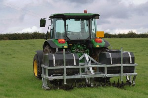 Aerating machines are used to open up soils.